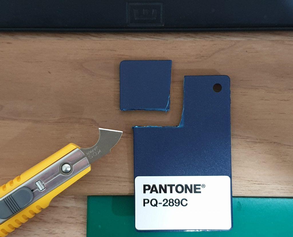 Pantone plastic piece cut out